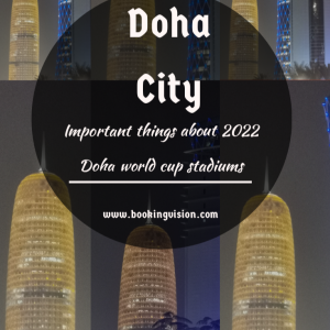 Doha sky line ans 2022 stadiums world cup